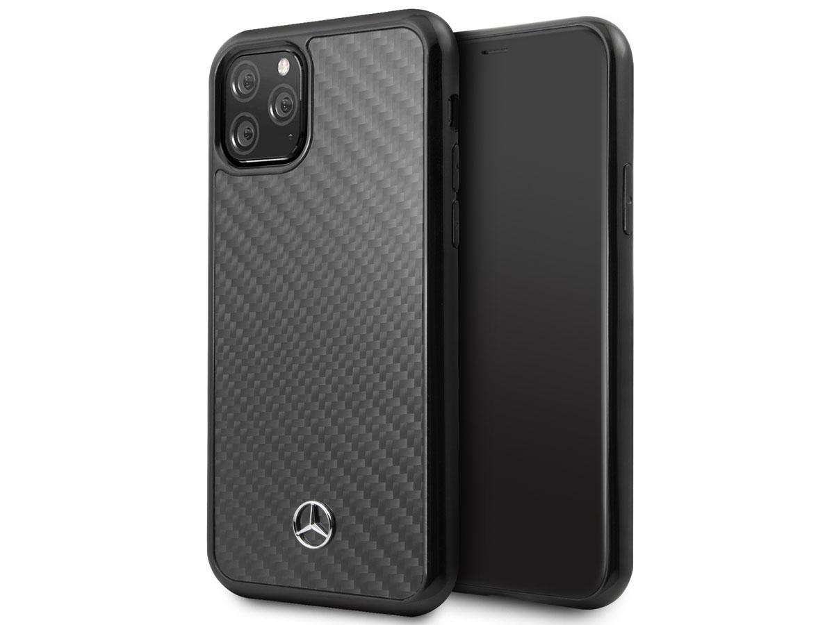 Mercedes-Benz Carbon Fiber Case - iPhone 11 Pro Max hoesje Zwart