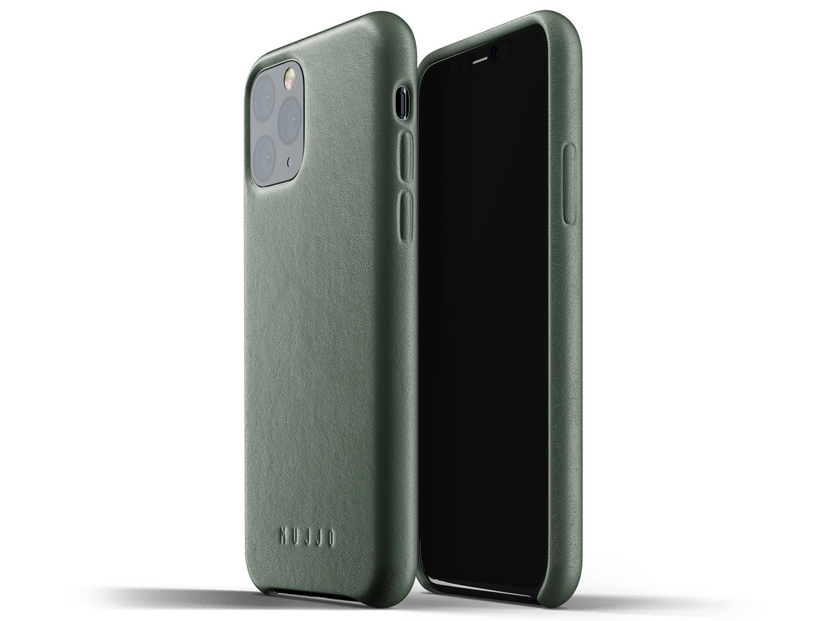 Mujjo Full Leather Case Groen Leer - iPhone 11 Pro Hoesje