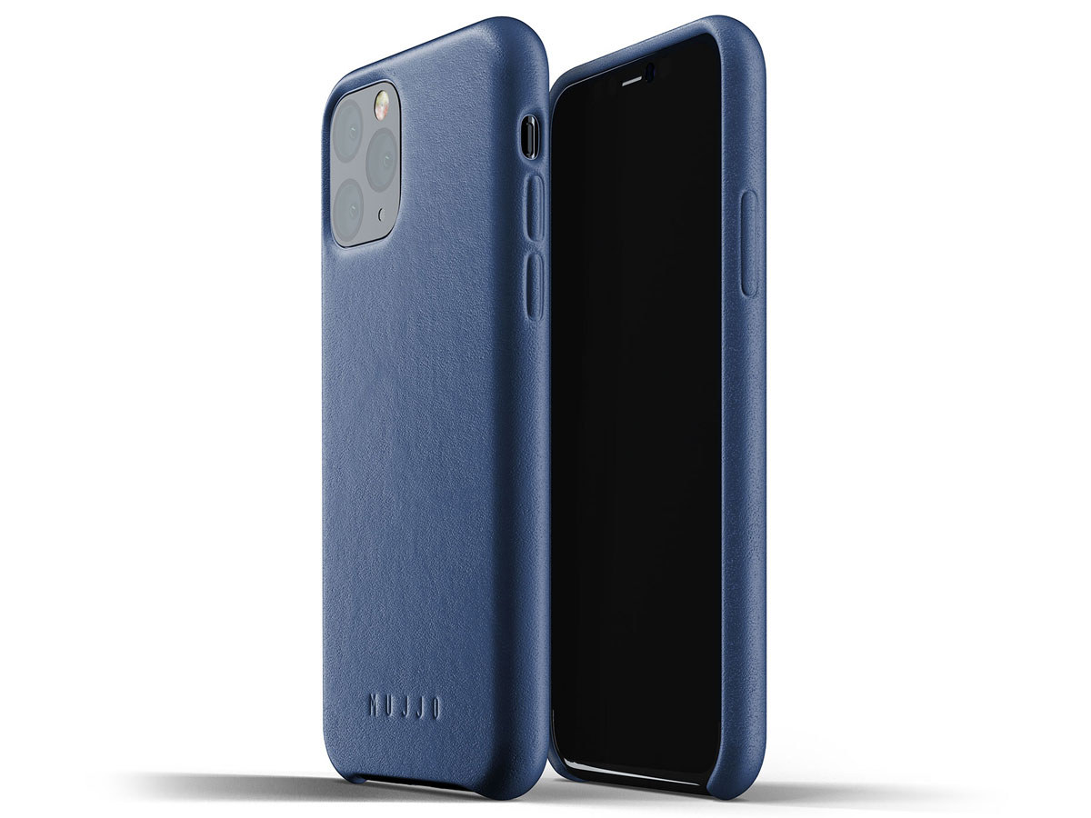 Mujjo Full Leather Case Blauw Leer - iPhone 11 Pro Hoesje