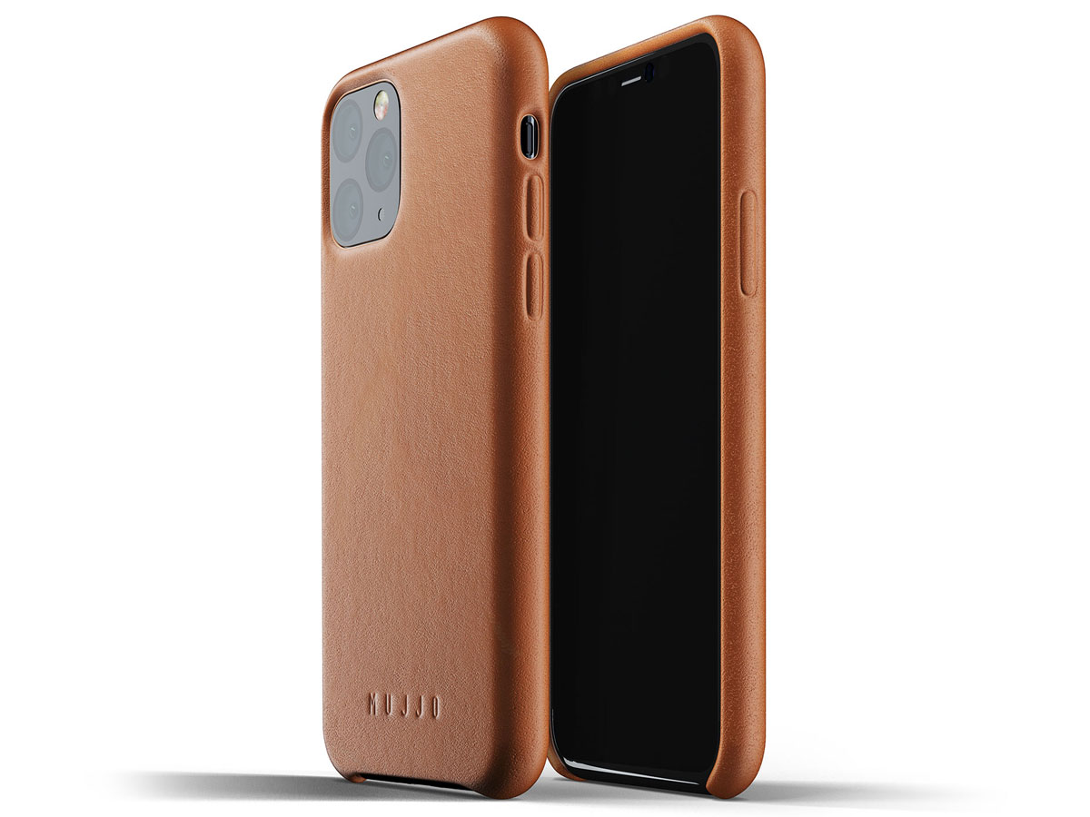 Mujjo Full Leather Case Tan Leer - iPhone 11 Pro Hoesje Cognac