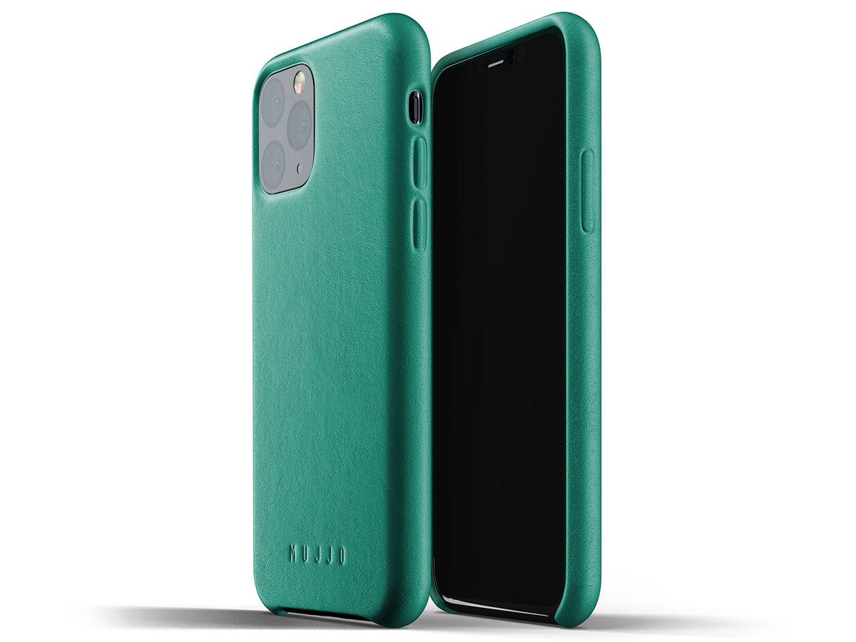 Mujjo Full Leather Case Alpine Groen Leer - iPhone 11 Pro Hoesje