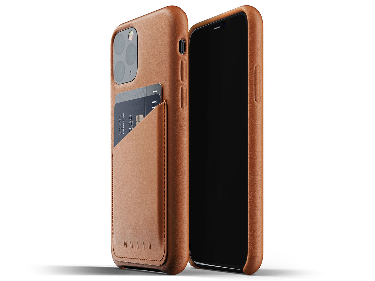 Mujjo Full Leather Wallet Case Tan Leer - iPhone 11 Pro Hoesje Cognac