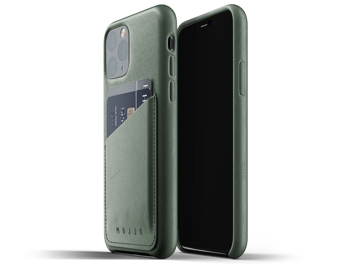 Mujjo Full Leather Wallet Case Groen Leer - iPhone 11 Pro Hoesje