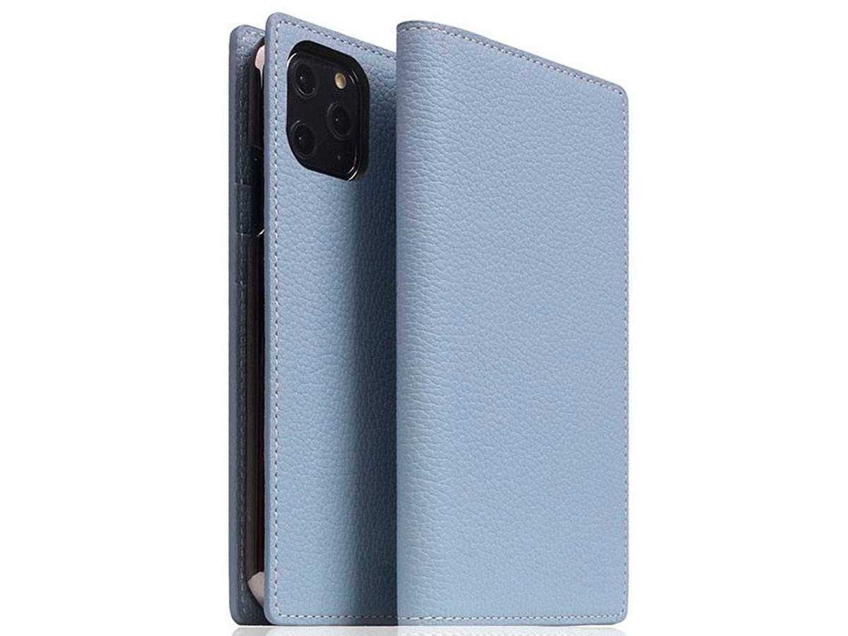 SLG Design D8 Folio Leer Powder Blue - iPhone 11 Pro hoesje Lichtblauw