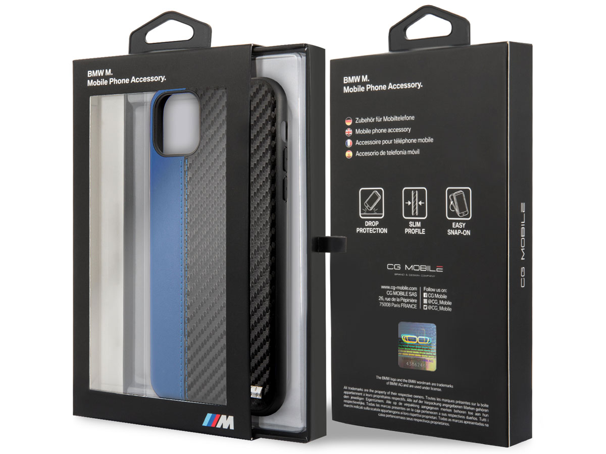 BMW M Sport Stitched Case Blauw - iPhone 11 Pro Max hoesje