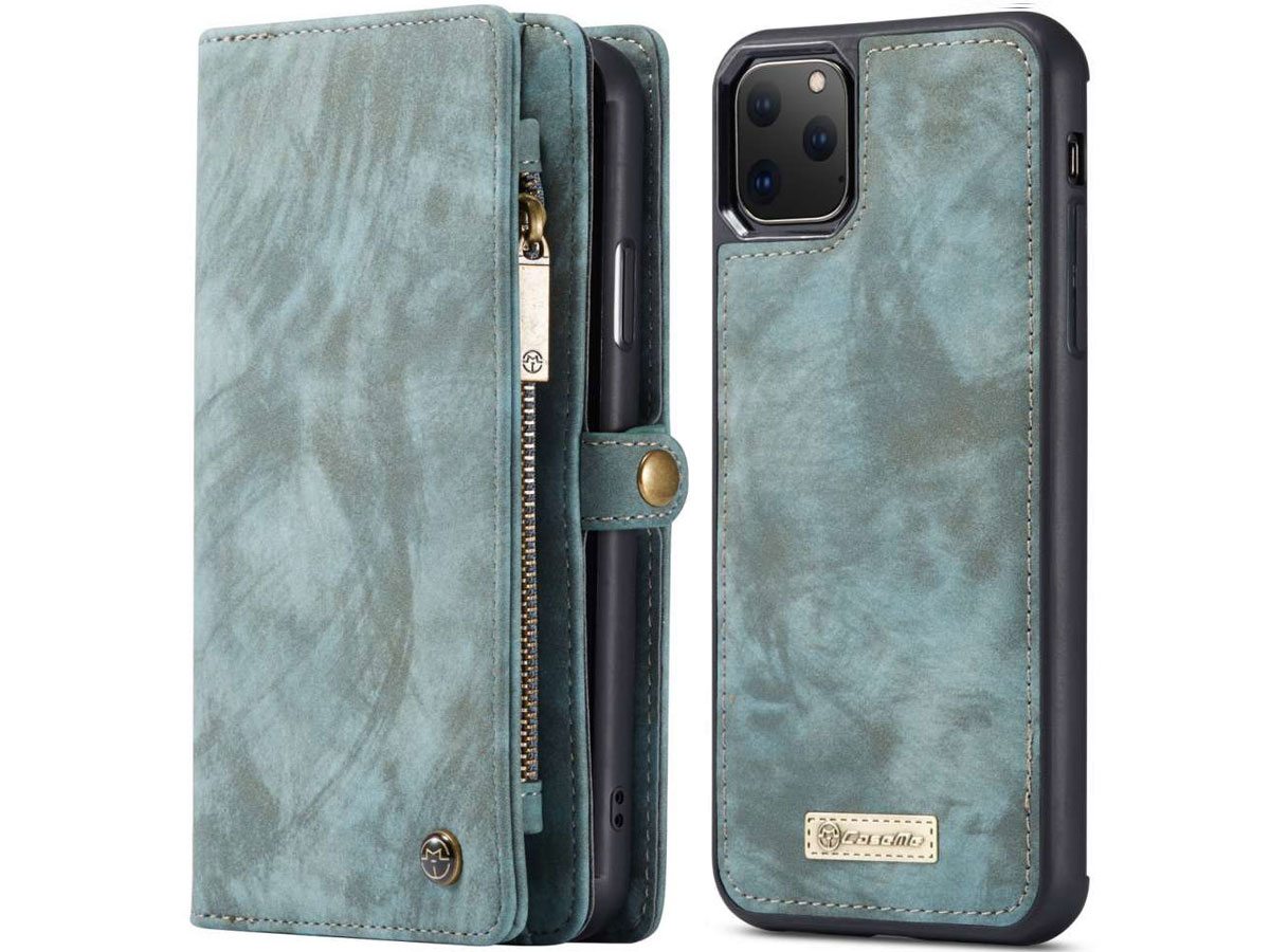 CaseMe 2in1 Wallet Ritsvak Case Blauw - iPhone 11 Pro Max Hoesje
