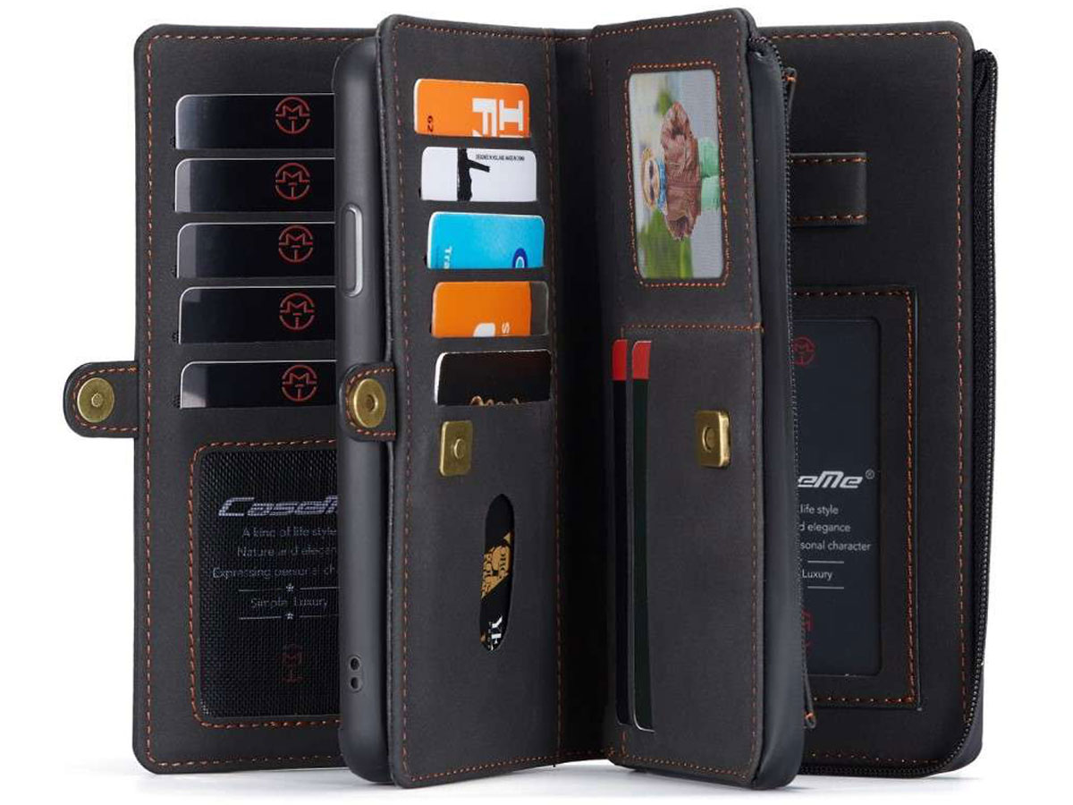 CaseMe Multi Wallet Ritsvak Case Zwart - iPhone 11 Pro Max Hoesje