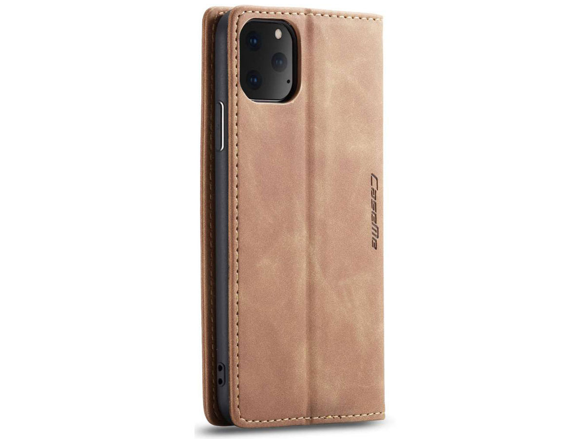 CaseMe Vintage BookCase Tan - iPhone 11 Pro Max hoesje