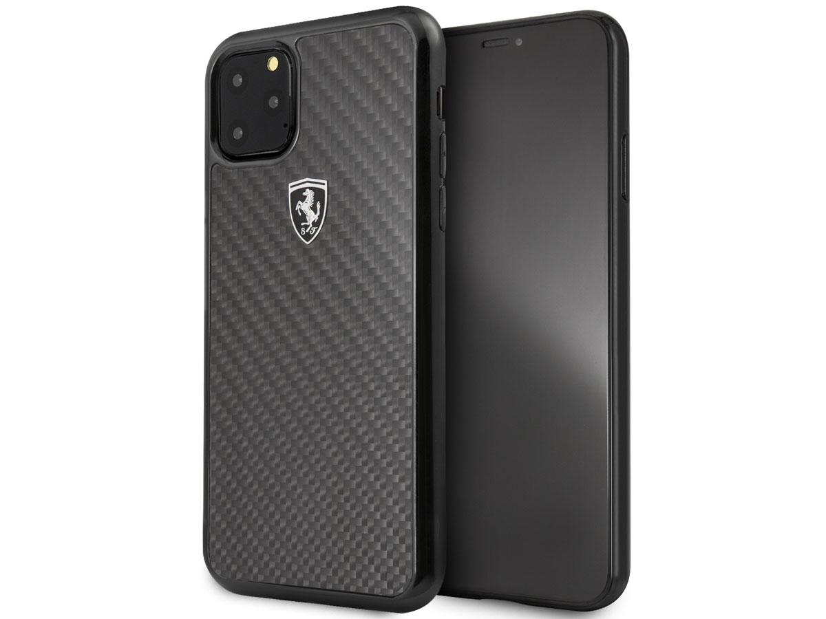Ferrari Carbon Fiber Hard Case - iPhone 11 Pro Max hoesje Zwart