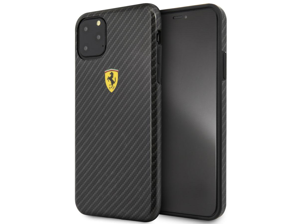 Ferrari Dual Layer Case Carbon Zwart - iPhone 11 Pro Max Hoesje