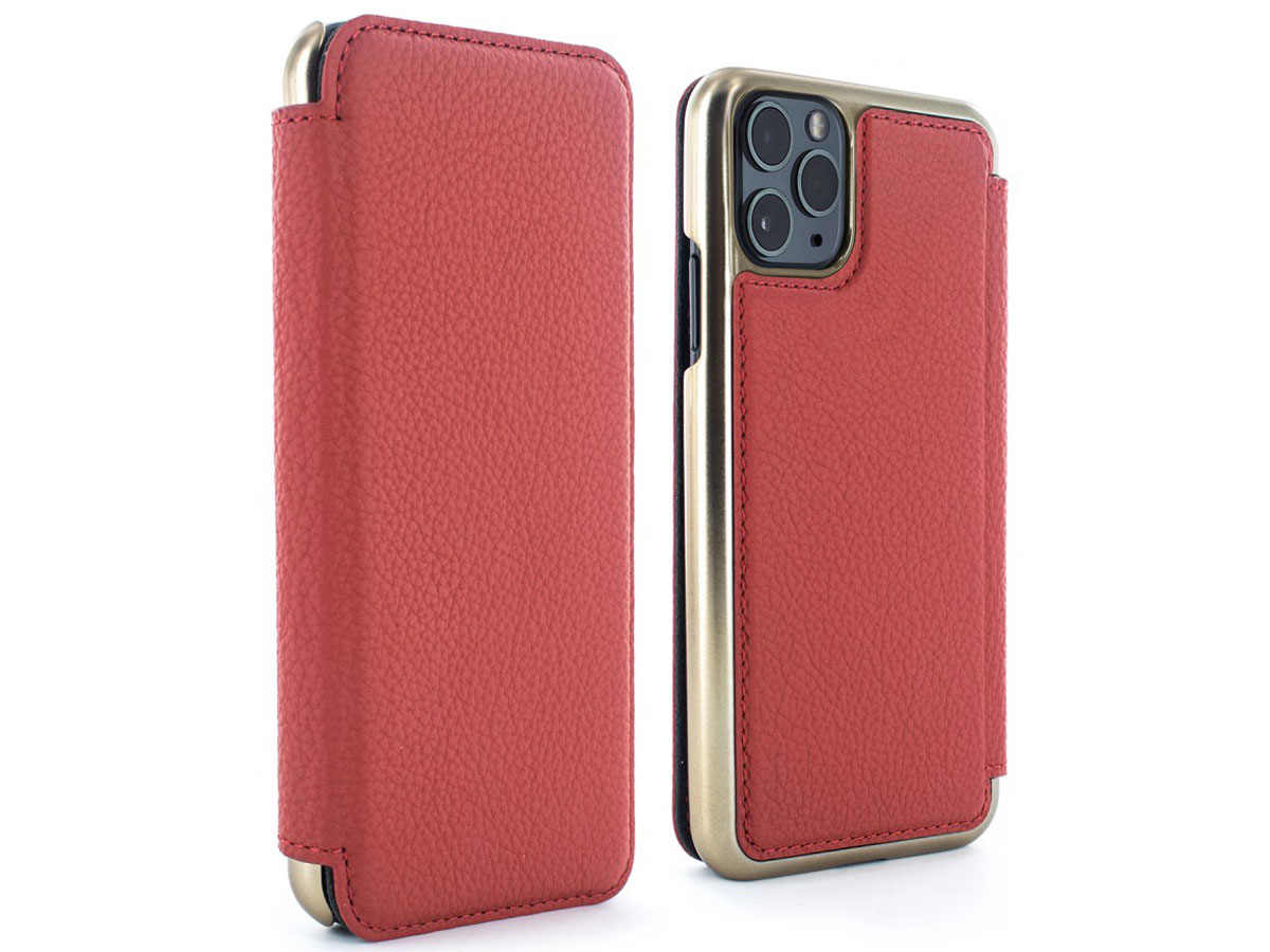 Greenwich Blake Folio Scarlet/Gold - iPhone 11 Pro Max Hoesje Leer Rood