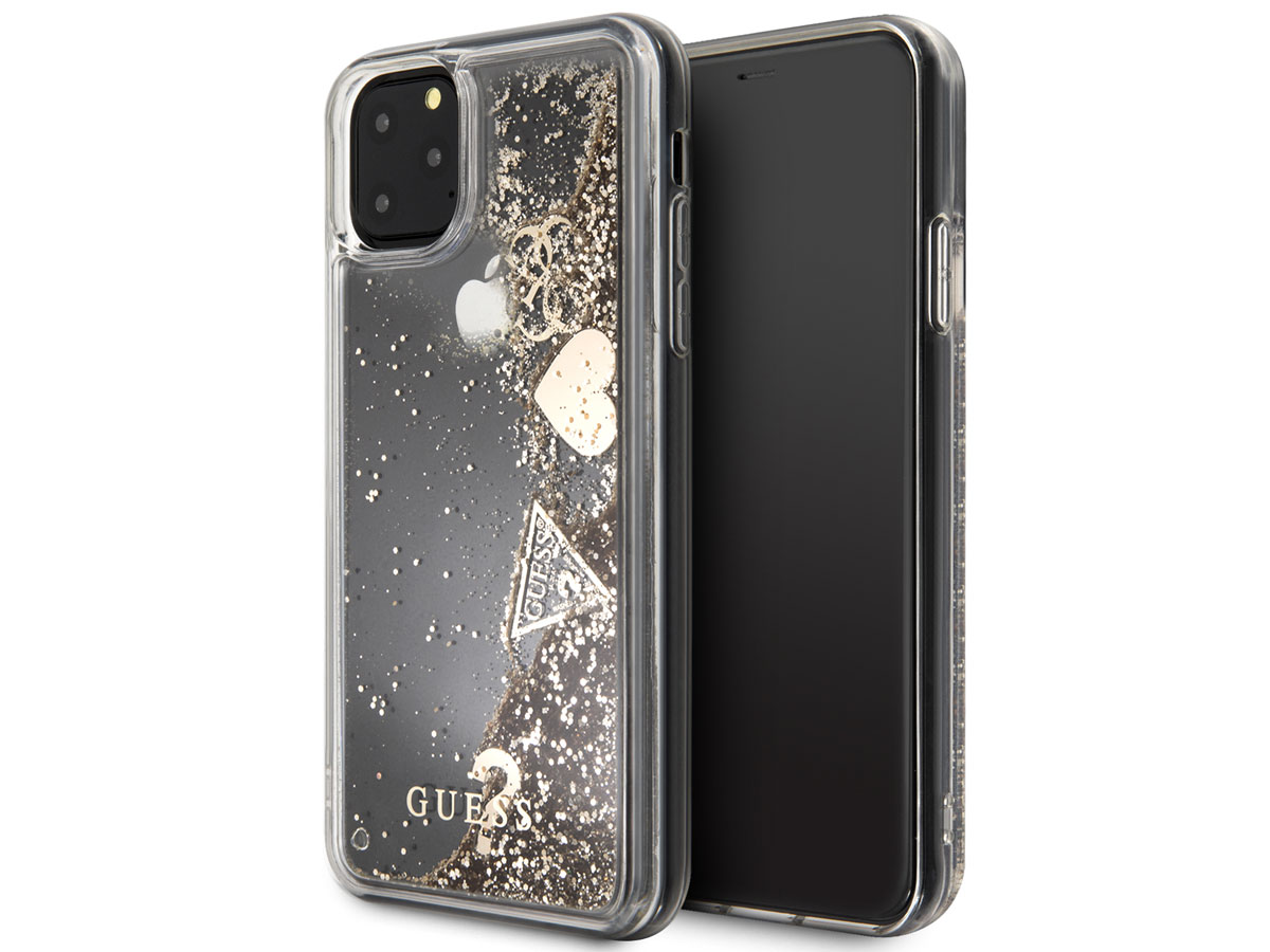Guess Floating Logo Case Goud iPhone 11 Pro Max hoesje