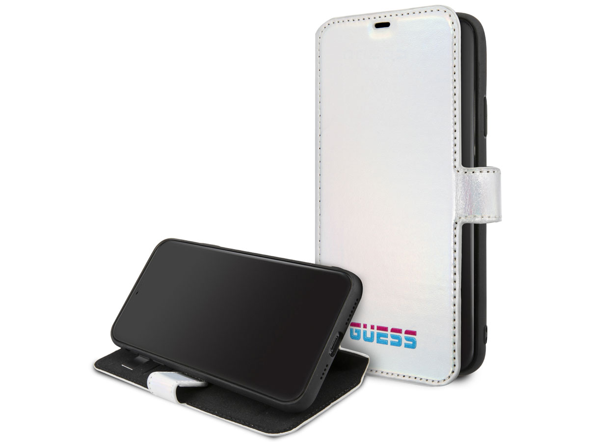 Guess Metallic Bookcase Zilver - iPhone 11 Pro Max hoesje