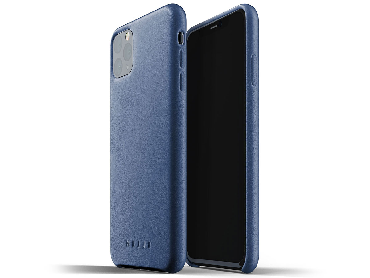 Mujjo Full Leather Case Blauw Leer - iPhone 11 Pro Max Hoesje