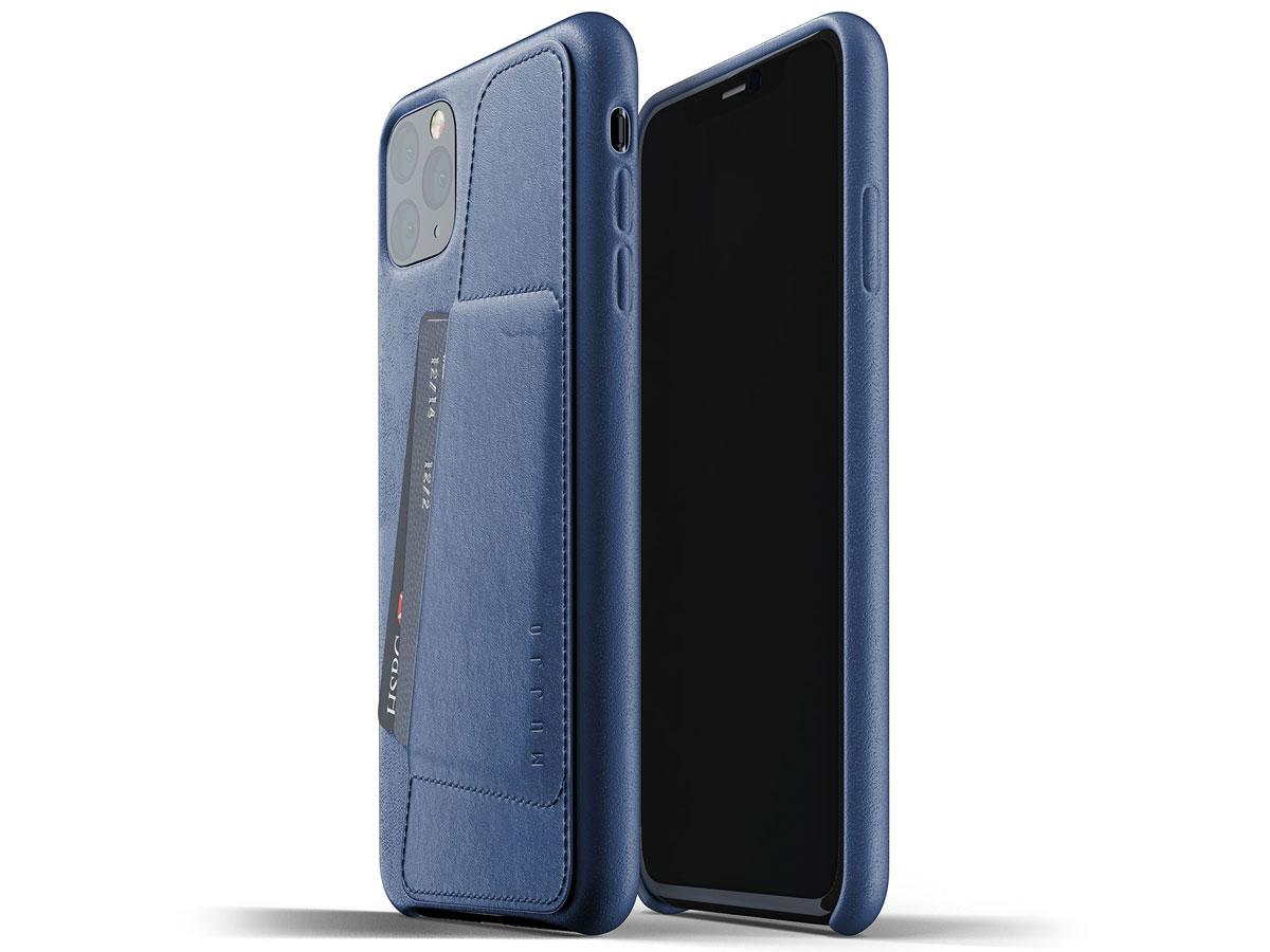 Mujjo Full Leather Wallet Case Blauw - iPhone 11 Pro Max Hoesje