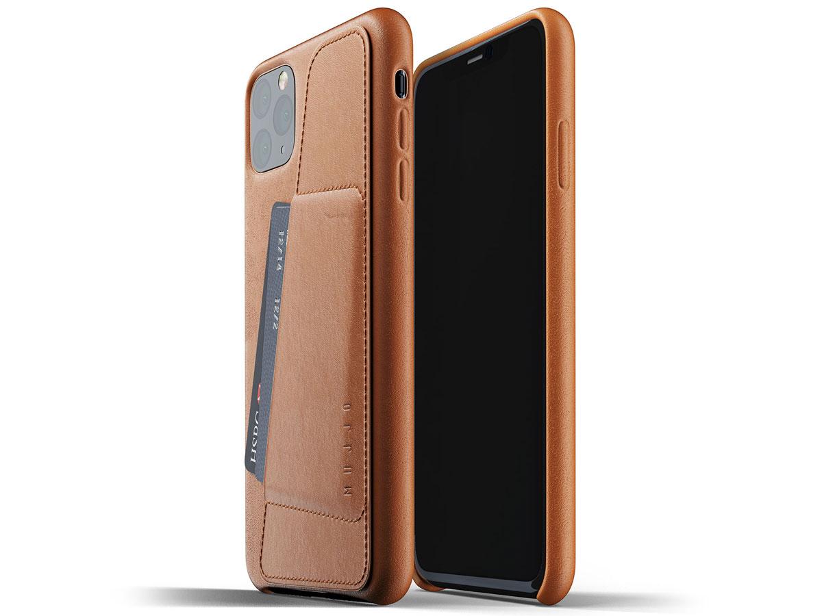 Mujjo Full Leather Wallet Case Tan - iPhone 11 Pro Max Hoesje Cognac