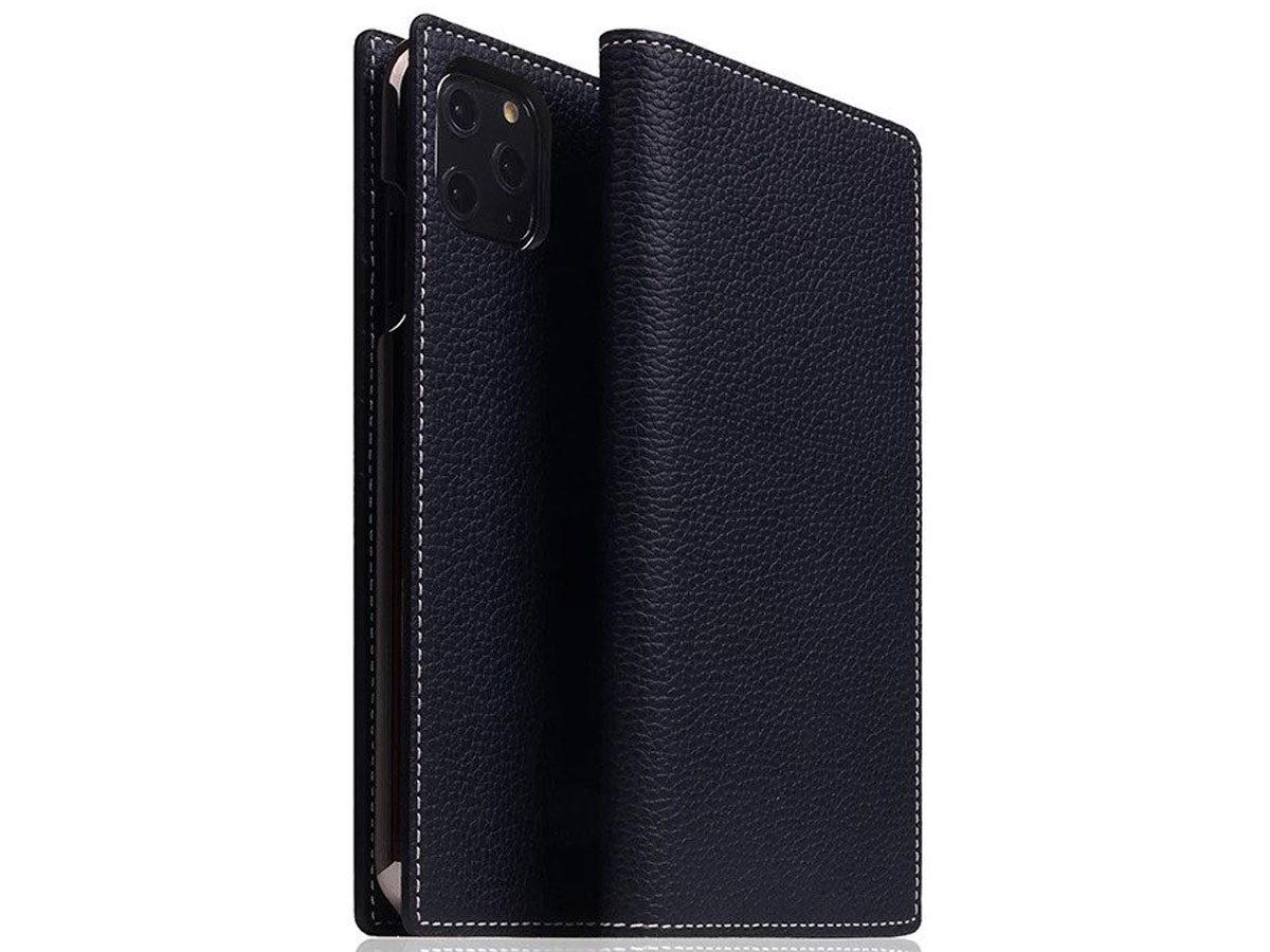 SLG Design D8 Folio Leer Black Blue - iPhone 11 Pro Max hoesje Donkerblauw