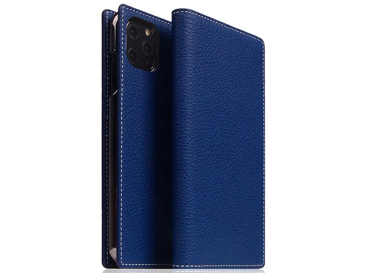 SLG Design D8 Folio Leer Navy Blue - iPhone 11 Pro Max hoesje Blauw