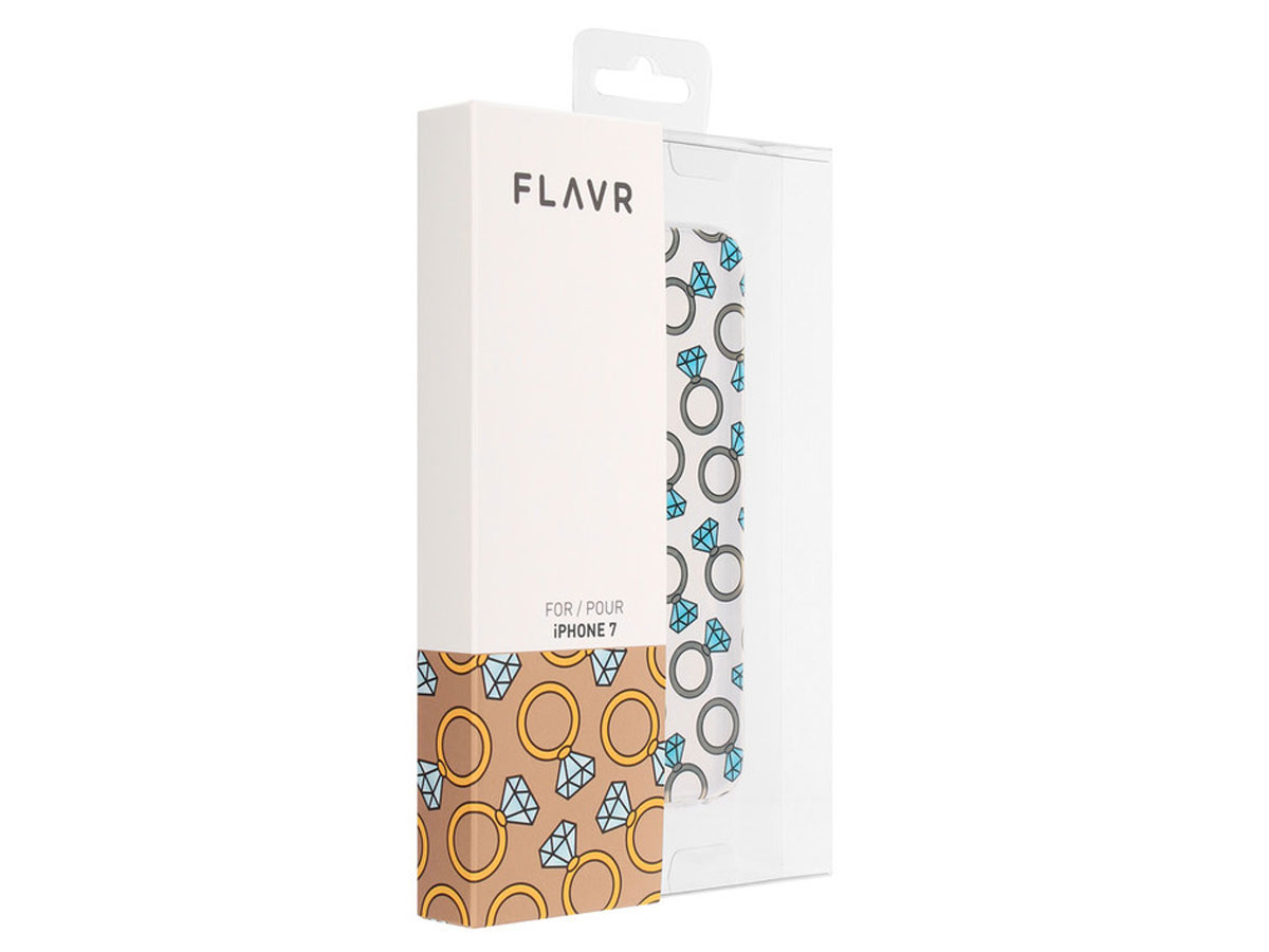 FLAVR Diamond Rings Clear Case - iPhone 8/7 hoesje