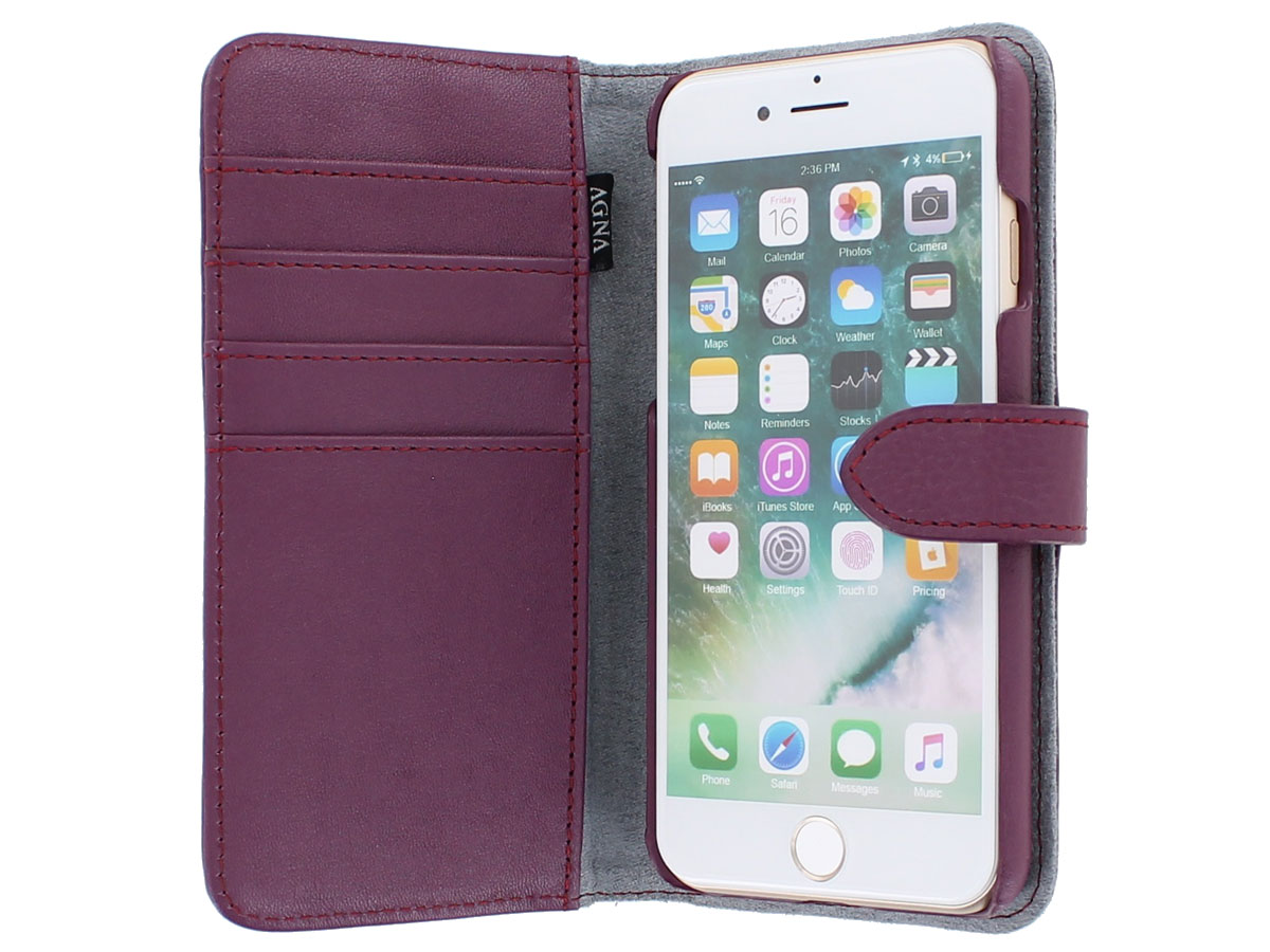 Agna Magneat 2in1 Case Paars Leer - iPhone SE 2020 / 8 / 7 hoesje