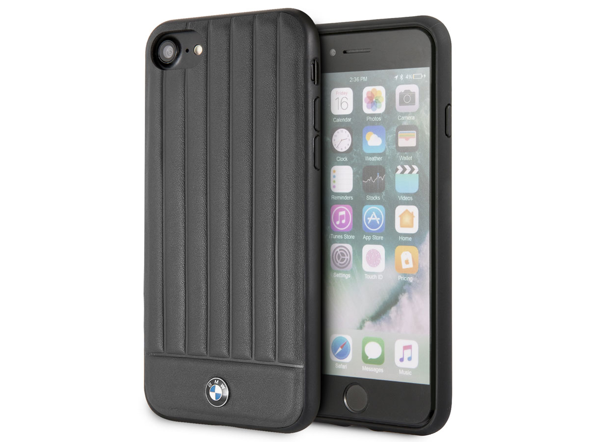BMW Signature Leather Case Zwart Leer - iPhone SE 2020 / 8 / 7 / 6(s) hoesje