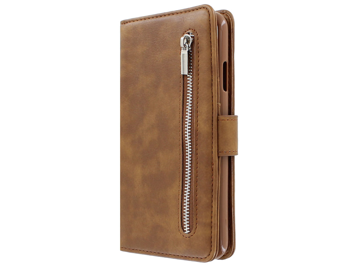 Zipper Wallet Case Bruin iPhone SE 2020 8 7 6(s) hoesje
