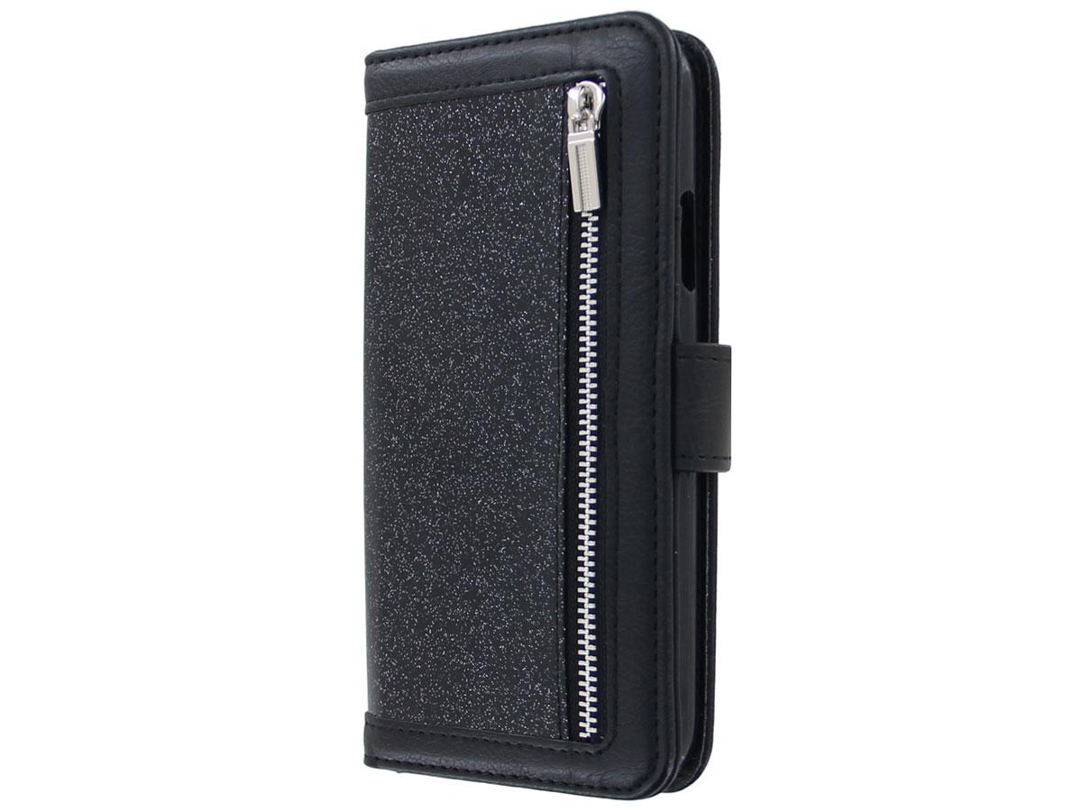 Glitsie Zip Case met Rits Zwart - iPhone SE 2020 / 8 / 7 hoesje