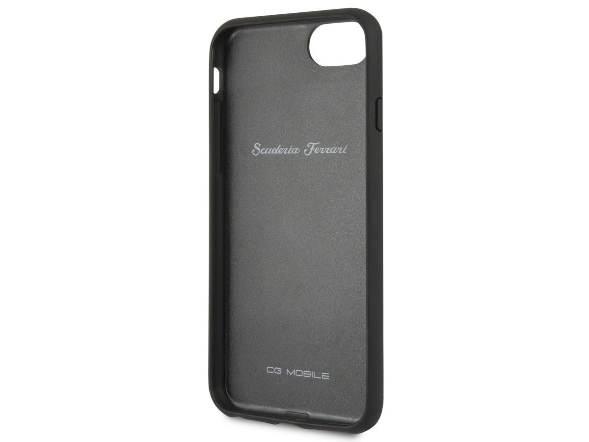 Ferrari Perforated Leather Case Zwart - iPhone 8/7/6 Hoesje