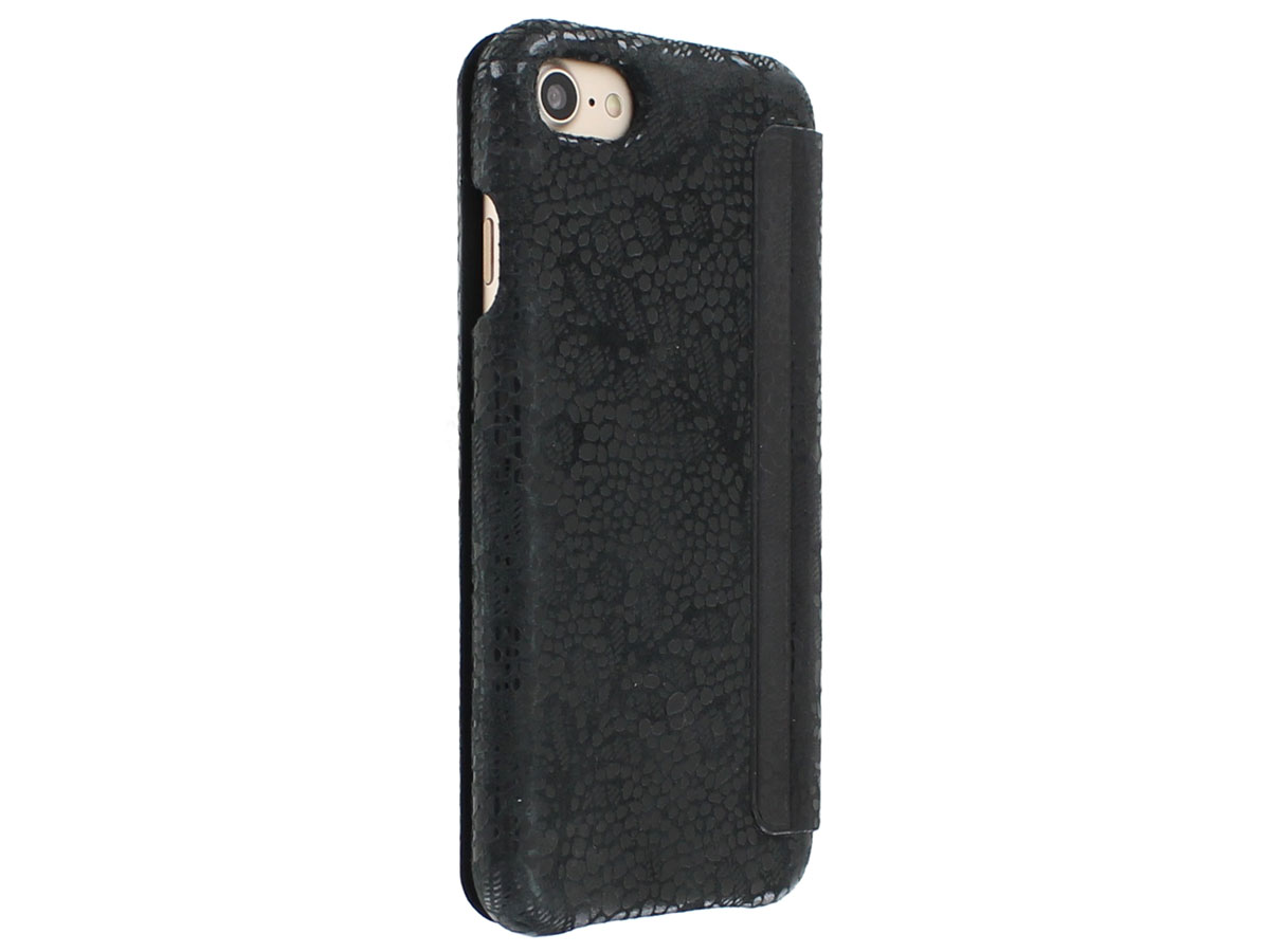 Graffi Oyster Lace Zwart Leer - iPhone 8/7/6 hoesje