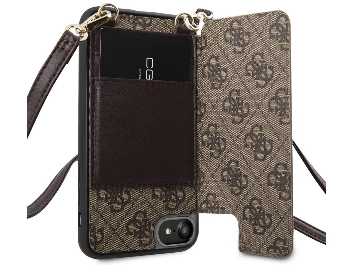 Guess 4G Crossbody Case Bruin - iPhone SE 2020 / 8 / 7 / 6(s) hoesje
