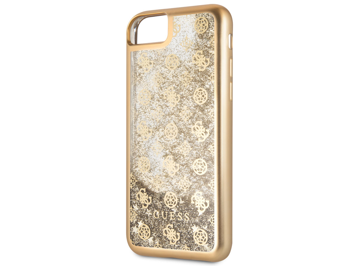 Guess Monogram Liquid Glitter Case Goud - iPhone SE 2020 / 8 / 7 / 6(s) hoesje