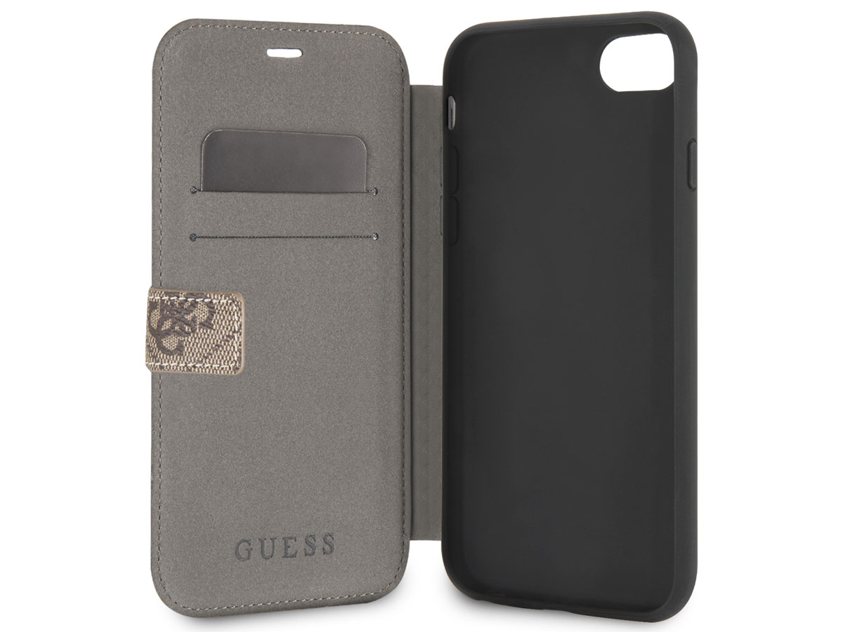 Guess Monogram Bookcase Bruin - iPhone 8/7/6 hoesje