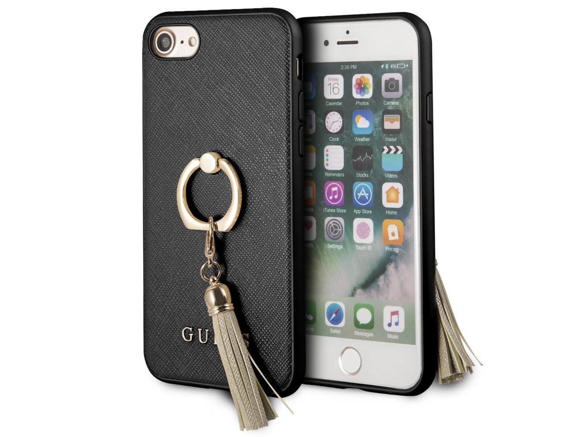 Guess Tassel iRing Case Zwart - iPhone SE 2020 / 8 / 7 / 6(s) hoesje