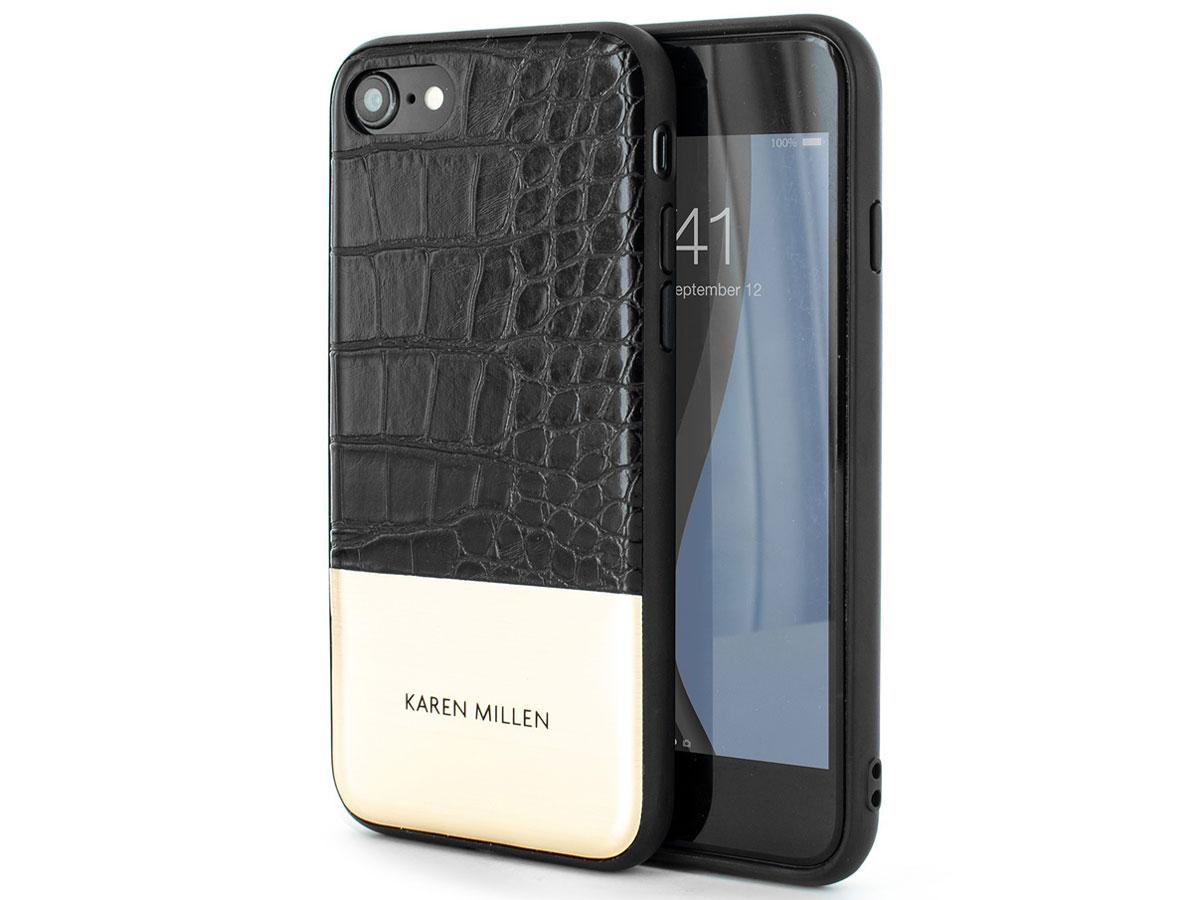 Karen Millen Case Croco Zwart - iPhone SE 2020 / 8 / 7 / 6(s) hoesje Zwart (Croco)