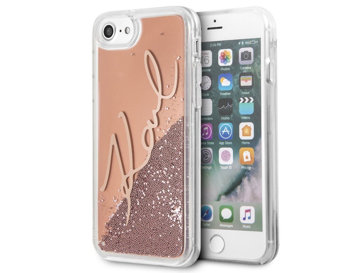 Karl Lagerfeld Signature Case Rose - iPhone SE 2020 / 8 / 7 / 6(s) hoesje Rose goud