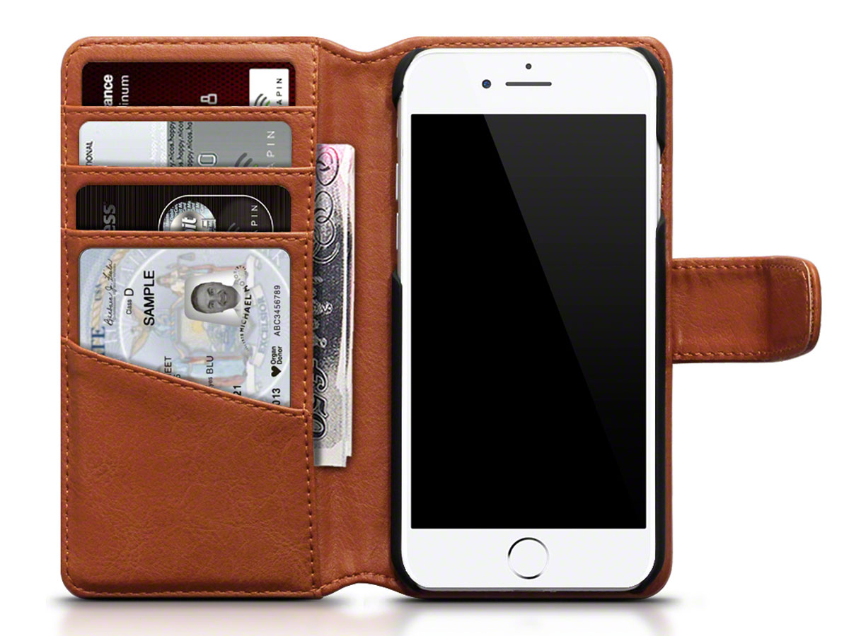 CaseBoutique Bookcase Cognac Leer - iPhone 8/7 hoesje