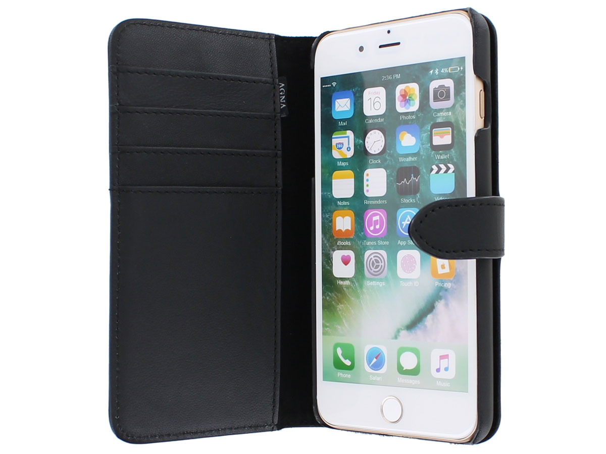 Agna Magneat 2in1 Case Zwart Leer - iPhone 8+/7+ hoesje