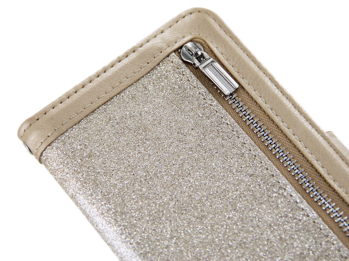Glitsie Zip Case met Rits Goud - iPhone 8+/7+ hoesje
