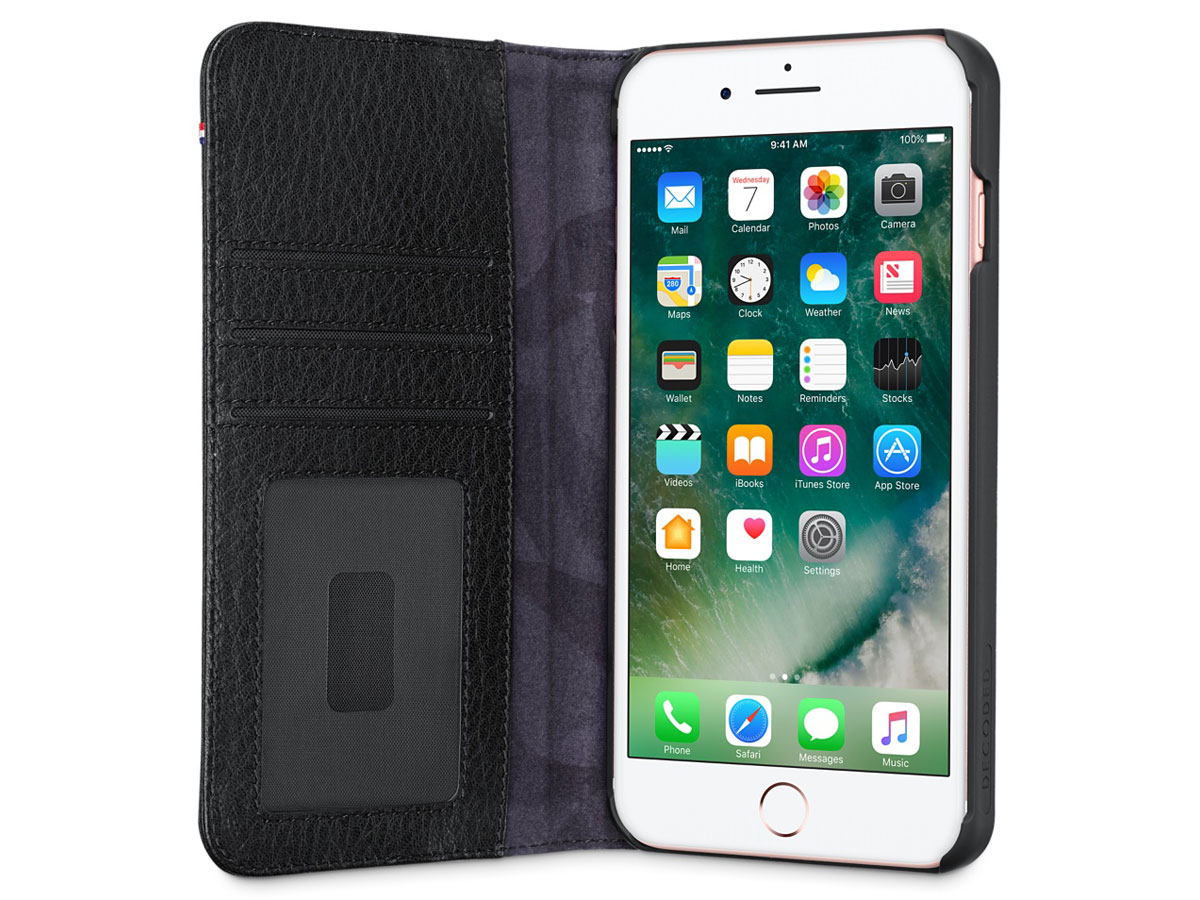 Decoded Leather Wallet Black - iPhone 8+/7+/6s+ hoesje