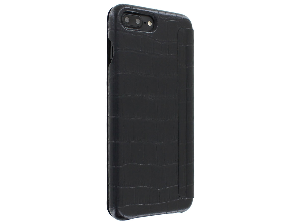 Graffi Oyster Folio Croco Zwart Leer - iPhone 8+/7+/6+ hoesje