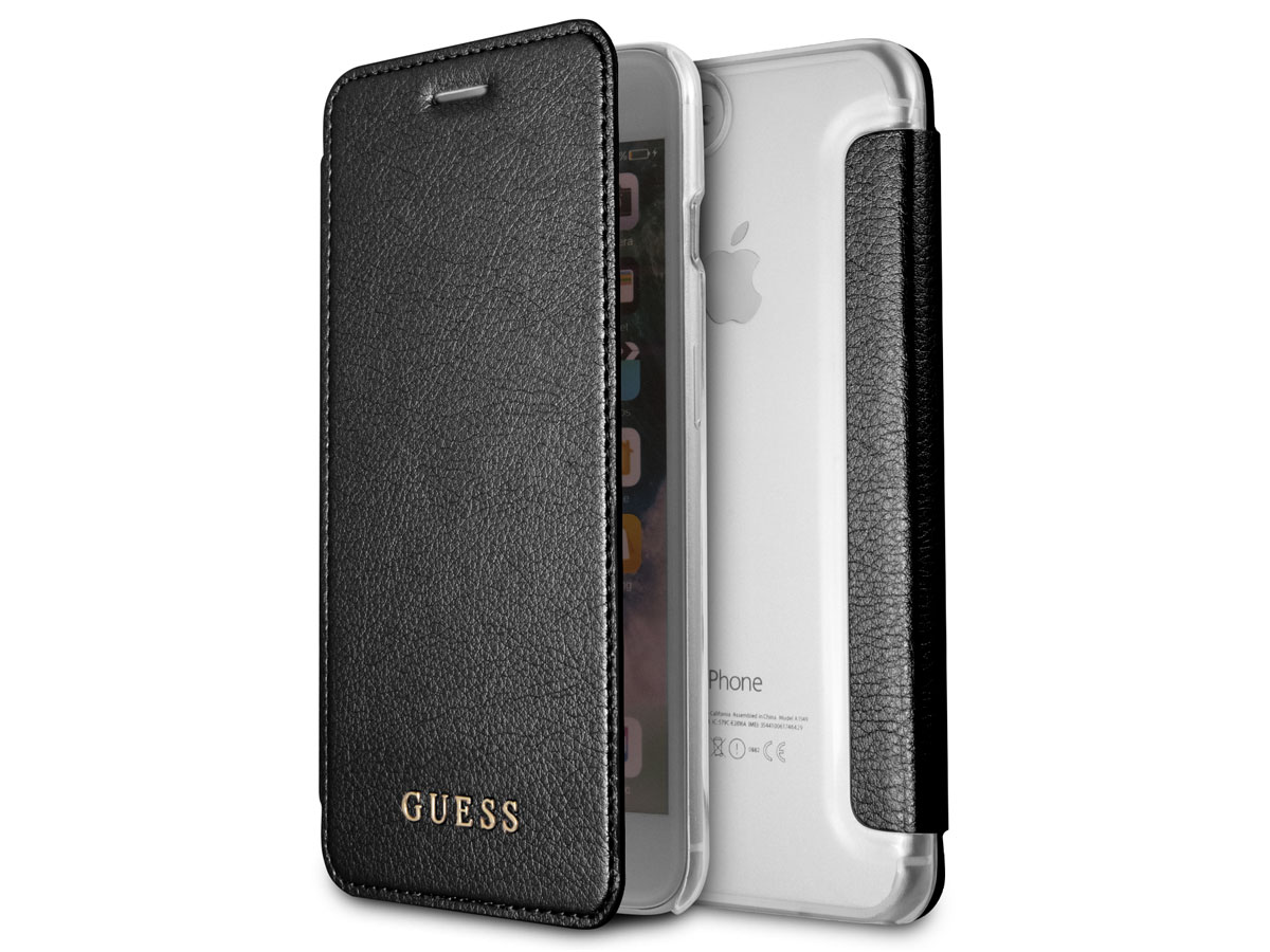 Guess Iridescent Book Zwart - iPhone 8+/7+/6+ hoesje