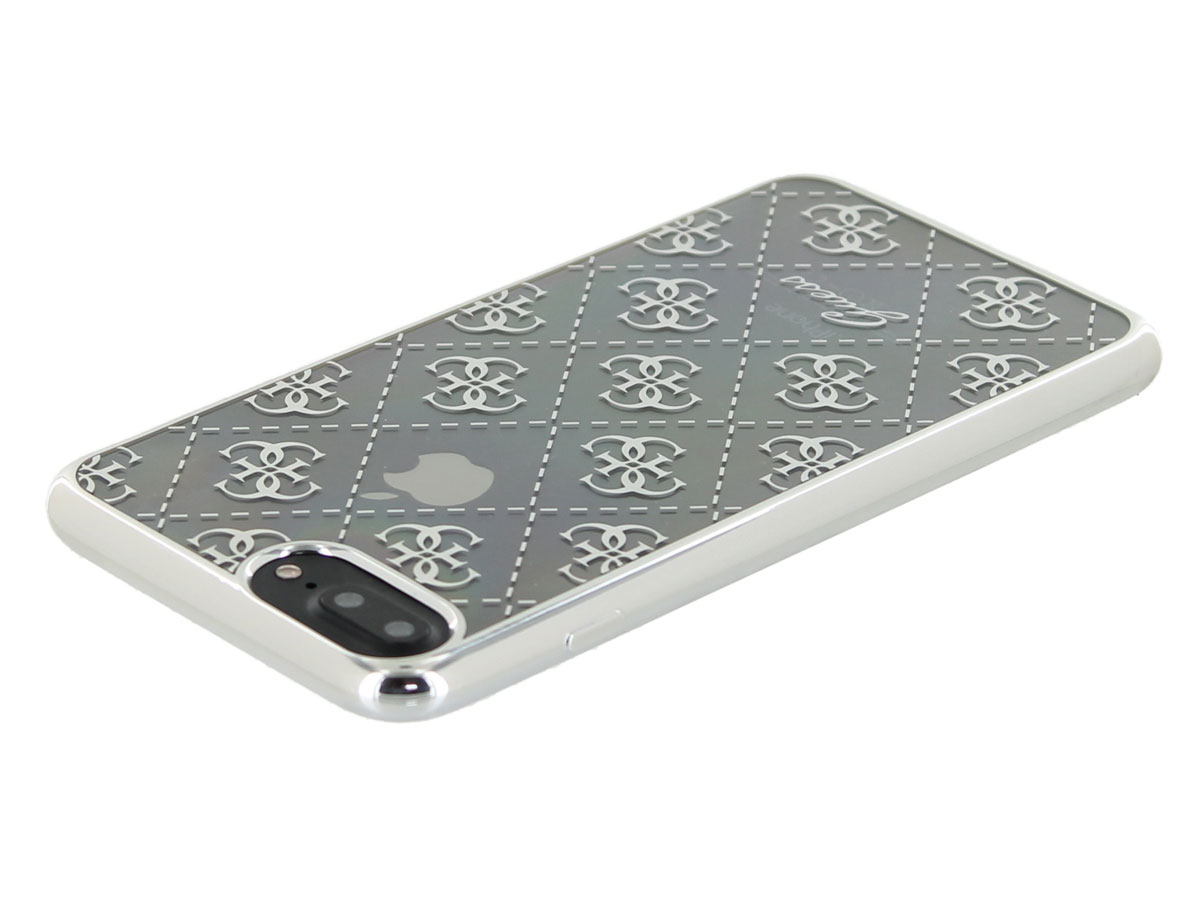 Guess Monogram TPU Case Zilver - iPhone 8+/7+/6+ hoesje