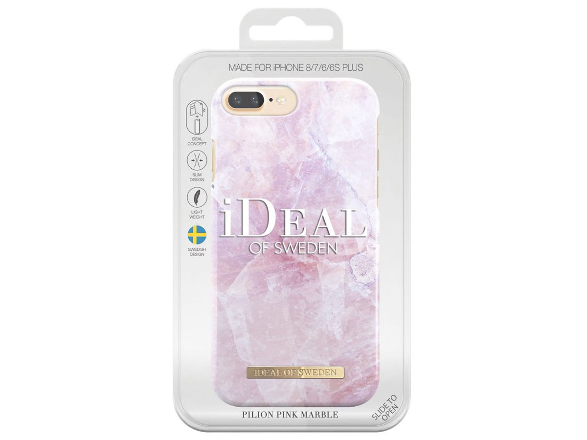 iDeal of Sweden Pink Marble Case - iPhone 8+/7+/6+ Hoes