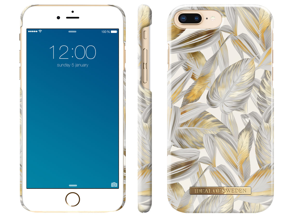iDeal of Sweden Case Platinum Leaves - iPhone 8+/7+/6+ hoesje