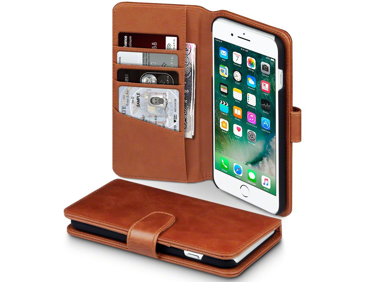 Terrapin Leather Bookcase - Leren iPhone 8+/7+ hoesje