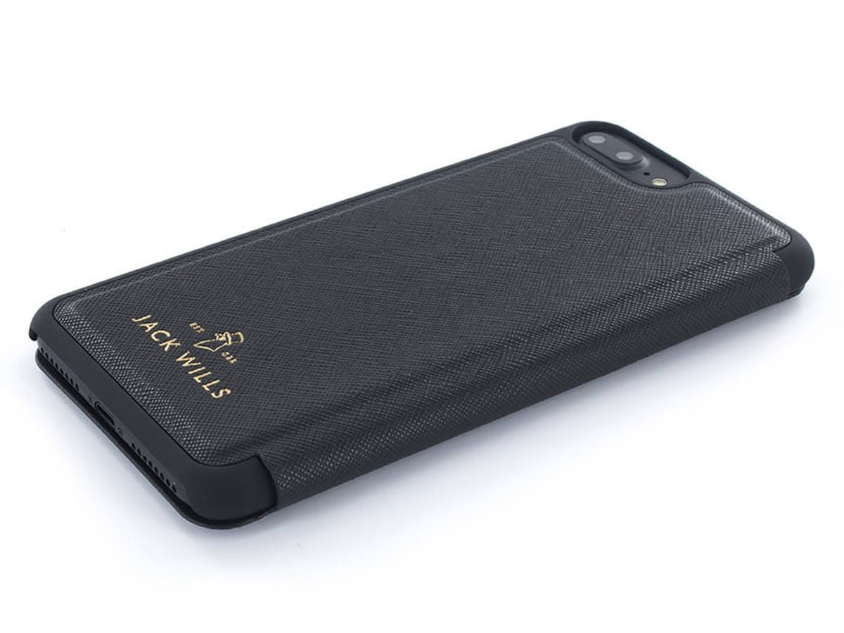 Jack Wills Bayles Folio Zwart - iPhone 8+/7+/6+ Hoesje