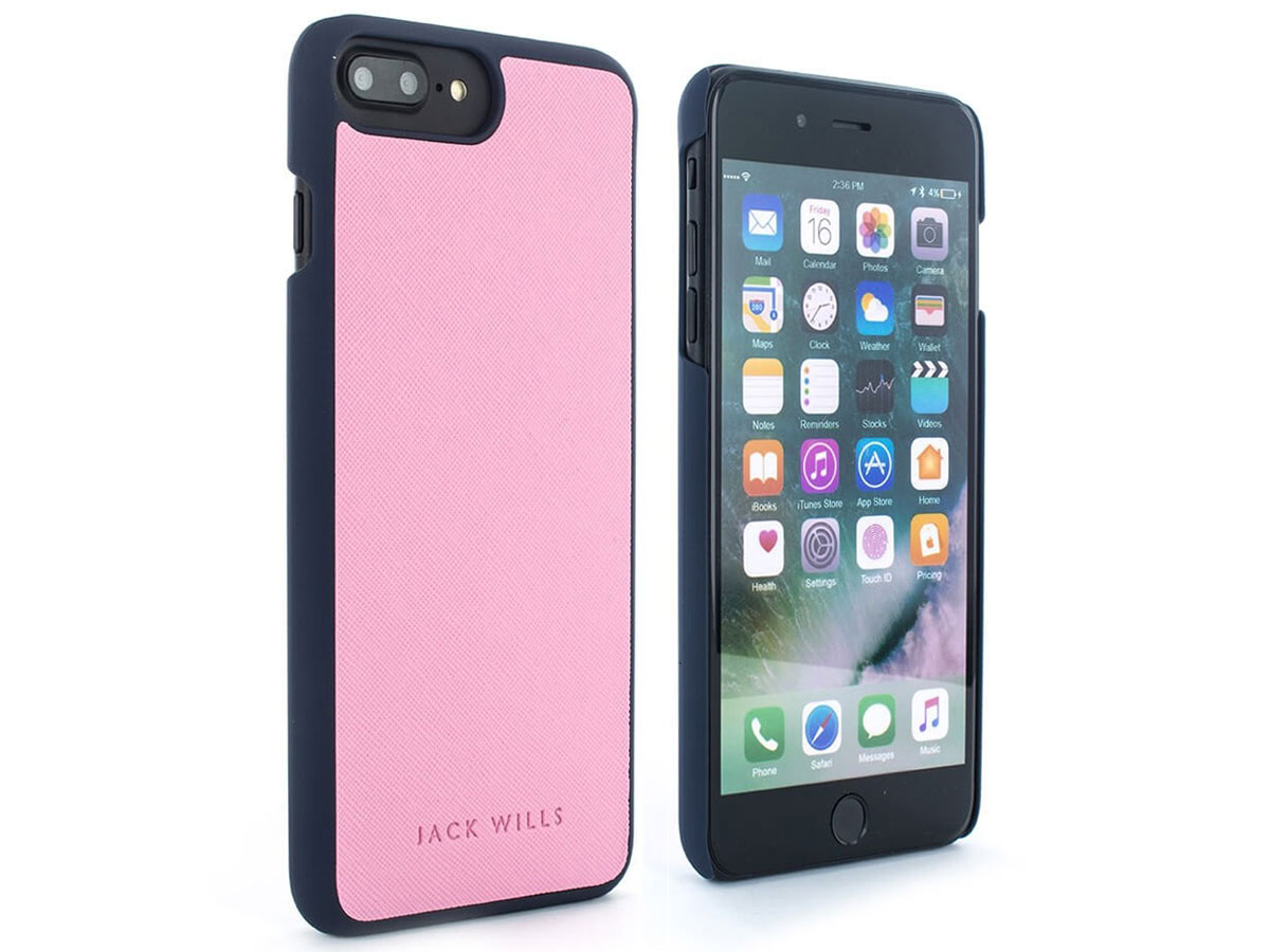 Jack Wills Saffiano Case Pink - iPhone 8+/7+/6+ Hoesje