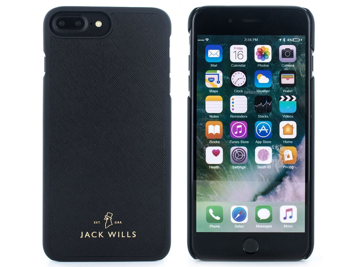 Jack Wills Saffiano Case Zwart - iPhone 8+/7+/6+ Hoesje
