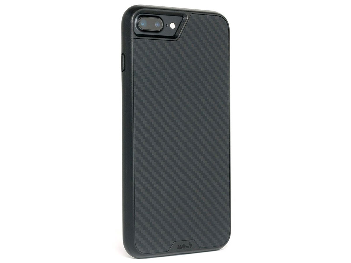 Mous Limitless 2.0 Carbon Case - iPhone 8+/7+/6+ hoesje Zwart