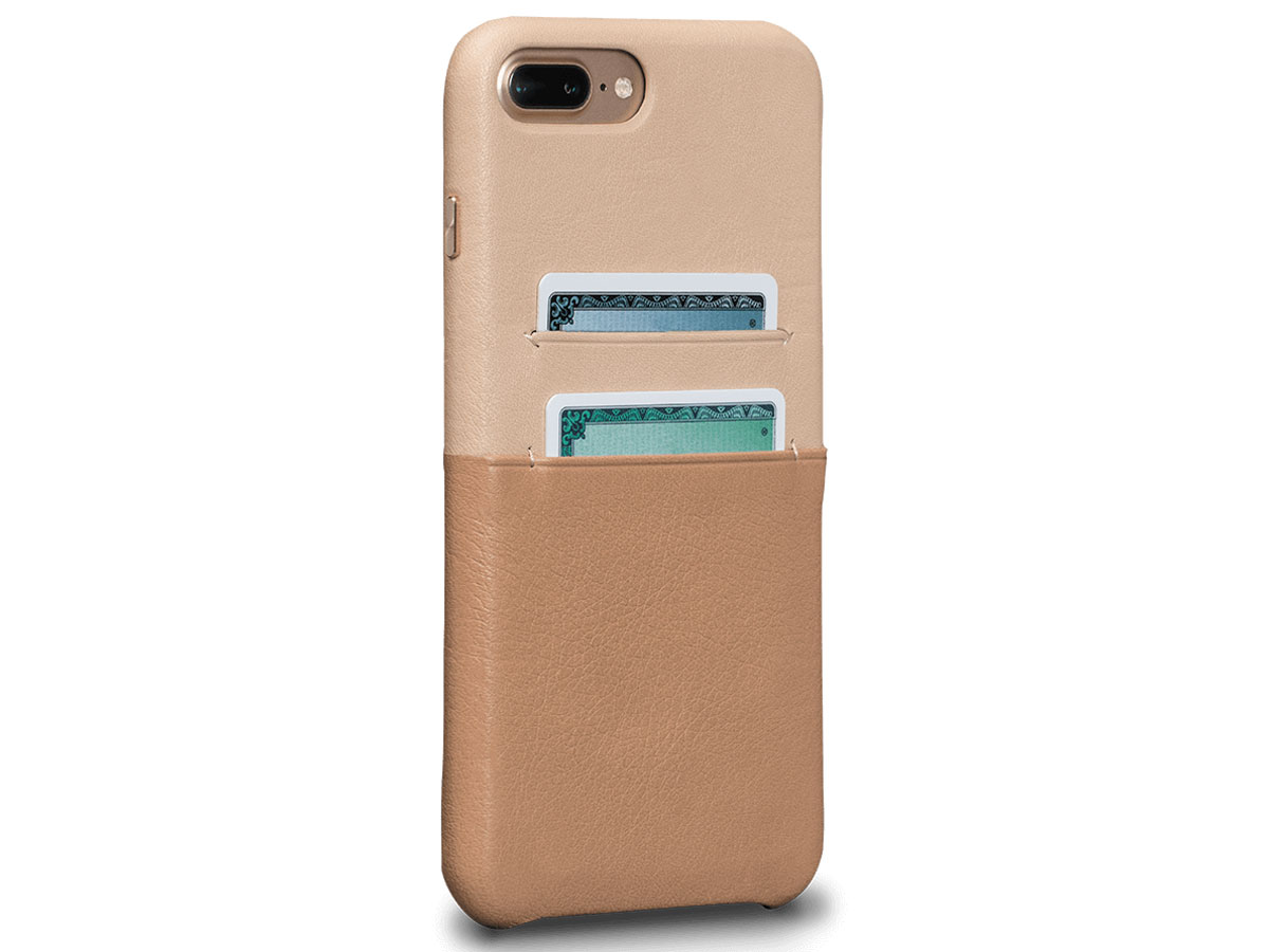 Sena Leather SnapOn Wallet Beige - iPhone 8+/7+ Hoesje